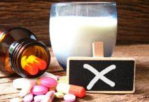 Nenhum tipo de medicamento deve ser tomado com leite