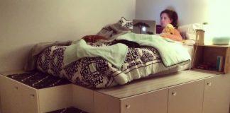 pai fez uma cama original para a filha