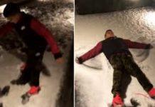 Georgina e Cristianinho brincam juntos na neve