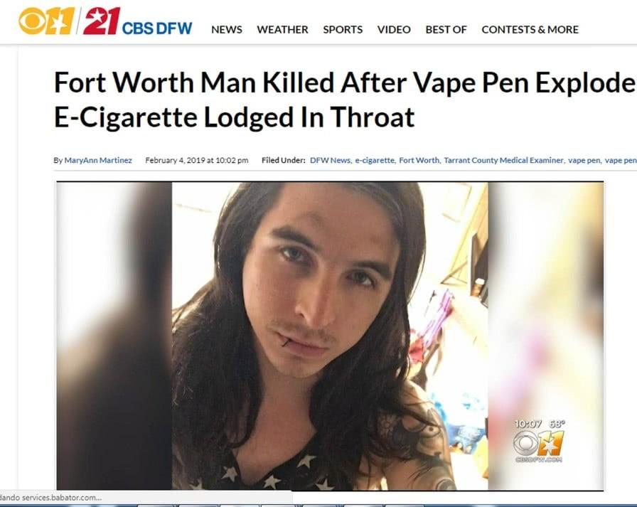 explosão de cigarro electrónico