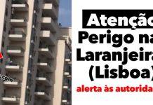 perigo junto à zona das Laranjeiras
