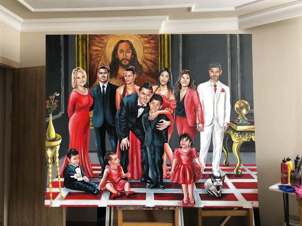 pintura de CR7 e da família