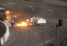 tirar filho do carro em chamas