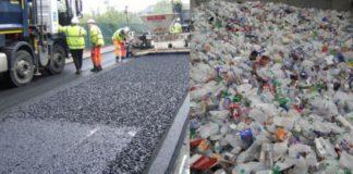 Empresa usa garrafas de plástico para fazer estradas.