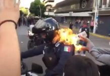 população ateia fogo a um polícia
