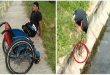 homem salta de cadeira de rodas